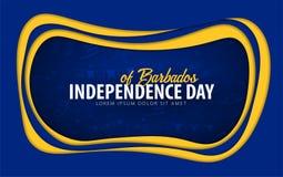 barbados Carte de voeux de Jour de la Déclaration d'Indépendance style de coupe de papier illustration de vecteur