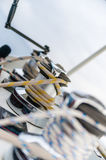 Barbados catamaran. This is the Barbadoses out on a catamaran view of the ropes stock photography