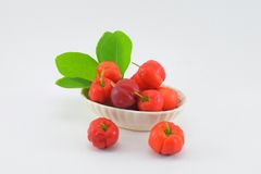 Barbados cherry. Blackberry, red and sour. Dip in salt and eat more delicious Stock Photography