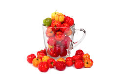 Barbados cherry in glass bowl Royalty Free Stock Photo
