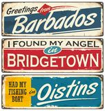 Barbados cities and travel destinations. Retro souvenirs collection on old damaged background with places to visit on Barbados. Vacation theme royalty free illustration