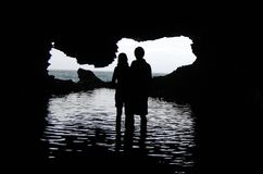 Barbados - Couple in Animal Flower Cave Royalty Free Stock Image