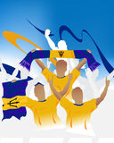 Barbados crowd. Crowd of soccer people fan and three soccer players with scarf and flag Stock Photo