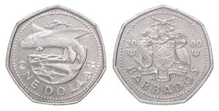 Barbados dollar coin stock images