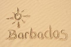 Barbados en la arena Imágenes de archivo libres de regalías