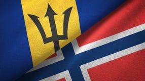 Barbados en Noorwegen twee vlaggen textieldoek, stoffentextuur vector illustratie