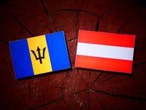 Barbados flag with Austrian flag on a tree stump  Royalty Free Stock Photos