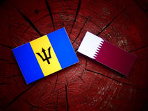 Barbados flag with Qatari flag on a tree stump isolated. Barbados flag with Qatari flag on a tree stump Royalty Free Stock Image