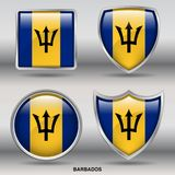 Barbados Flag in 4 shapes collection with clipping path royalty free stock photos