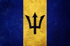 barbados flaggagrunge Barbados flagga med grungetextur Arkivbilder