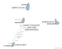 Barbados, Grenada, Saint Lucia, Saint Vincent political map Stock Photo
