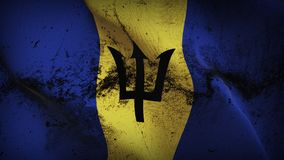 Barbados grunge dirty flag waving on wind. Barbados background fullscreen grease flag blowing on wind. Realistic filth fabric texture on windy day Royalty Free Stock Images