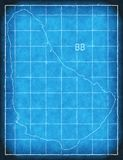 Barbados map blue print artwork illustration silhouette Royalty Free Stock Photography