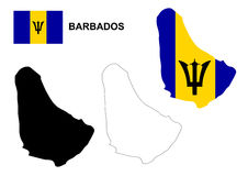 Barbados map vector, Barbados flag vector, isolated Barbados Stock Images
