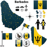 Barbados map Royalty Free Stock Photos