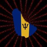 Barbados mapy flaga na czerwonej hex kodu wybuchu ilustraci Zdjęcie Stock