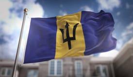 Barbados markeren het 3D Teruggeven op Blauwe Hemel de Bouwachtergrond Stock Fotografie
