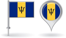Barbados pin icon and map pointer flag. Vector Stock Photos