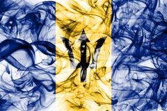 Barbados rökflagga på en vit bakgrund Royaltyfri Bild