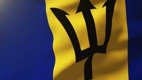 Barbados señalan agitar por medio de una bandera en el viento Sol de colocación stock de ilustración