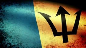 Barbados señalan agitar por medio de una bandera, mirada del grunge stock de ilustración