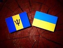 Barbados sjunker med den ukrainska flaggan på en isolerad trädstubbe Arkivfoto