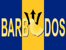 Barbados text with map Royalty Free Stock Images