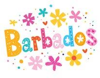 Barbados-Vektor, der dekorative Art beschriftet stock abbildung