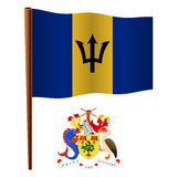 Barbados wavy flag Stock Photos
