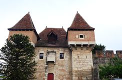 Barbakan Cahors, antyczny mediaevel miasteczko, Francja Obraz Stock