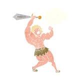 barbar- hjälte för tecknad film med tankebubblan Arkivbild