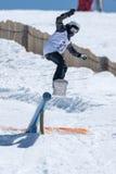 Barbara Almeida durante i campionati del cittadino dello snowboard Immagini Stock