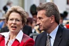 Barbara Bosch en Guenther Oettinger Stock Afbeelding