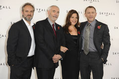 Barbara Broccoli, Daniel Graig, Michael G. Wilson, Sam Mendes,. Sam Mendes, producers, Barbara Broccoli and Michael G Wilson, and actor, Daniel Graig at the Royalty Free Stock Photos