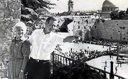 Barbara Bush and George H.W. Bush. Barbara Bush with her husband, then vice president George H.W. Bush enjoy the finer points of Jerusalem`s Western Wall, also royalty free stock photo