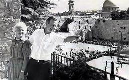 Barbara Bush and George H.W. Bush. Barbara Bush, her husband, then vice president George H.W. Bush enjoy the finer points of Jerusalem`s Western Wall, also Royalty Free Stock Photo