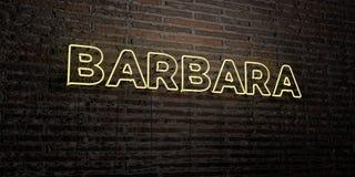 BARBARA - enseigne au néon réaliste sur le fond de mur de briques - image courante gratuite de redevance rendue par 3D Images libres de droits