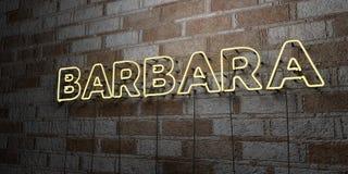 BARBARA - Enseigne au néon rougeoyant sur le mur de maçonnerie - 3D a rendu l'illustration courante gratuite de redevance Images stock