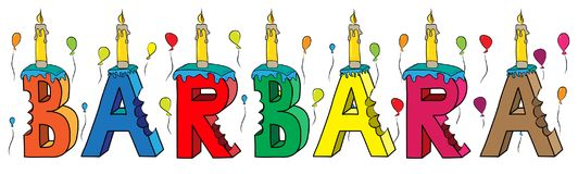 Barbara female first name bitten colorful 3d lettering birthday cake with candles and balloons.  Royalty Free Stock Photos