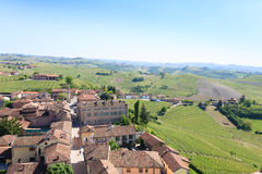 Barbaresco town aerial view, Langhe, Italy stock image