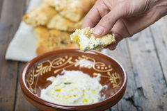 Barbari or Persian bread and strained yogurt Stock Images