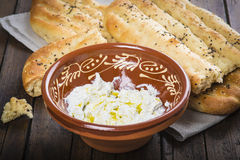 Barbari or Persian bread and strained yogurt Royalty Free Stock Images