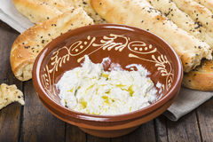 Barbari or Persian bread and strained yogurt Royalty Free Stock Photography