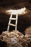 Barbaria cape cave hole aged wood steps. Magic Formentera island Balearic Stock Photo