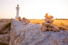 Barbaria cape Lighthouse in Formentera Balearic islands Royalty Free Stock Image