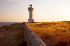 Barbaria cape Lighthouse in Formentera Balearic islands Stock Photo