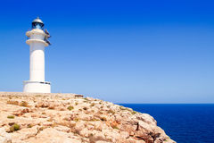 Barbaria Cape lighthouse in formentera island. Barbaria Cape Lighthouse in formentera Balearic island in Mediterranean stock photography