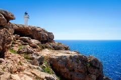 Barbaria Cape lighthouse in Formentera island. On Mediterranean Balearic sea royalty free stock photos