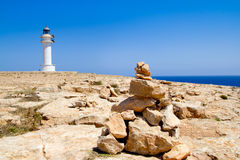 Barbaria formentera Lighthouse make a wish stones Stock Photo