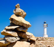 Barbaria formentera Lighthouse make a wish stones Stock Images